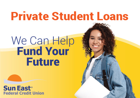 girl with computer private student loan graphic